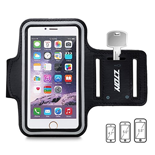 ZTON Sports Armband, Water Resistant running Cell phone case with Key Holder for iPhone 7 plus 6S plus 6 plus , Samsung Galaxy S5 S6, LG, Blackberry, for Gym Exercise Jogging Fitness Black 5.5''