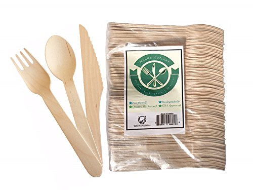 Disposable Wooden Cutlery Set, Biodegradable Birchwood Forks, Spoons and Knives 200 Pieces