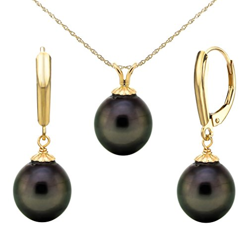 """14k Yellow Gold 10-10.5mm Black Baroque Tahitian Cultured Pearl Pendant and Lever-back Earrings, 18"""""""