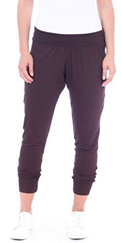 Popana Women's Cropped Jogger Pants. Ankle Length Harem Pants -Made In USA Large Brown