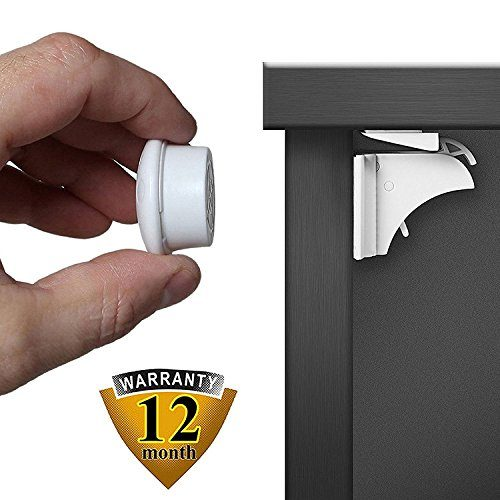 Baby Safety Magnetic Cabinet Locks Easy to Install Adhesive Locks No Drill 4 Strong Safety Locks + 1 Key