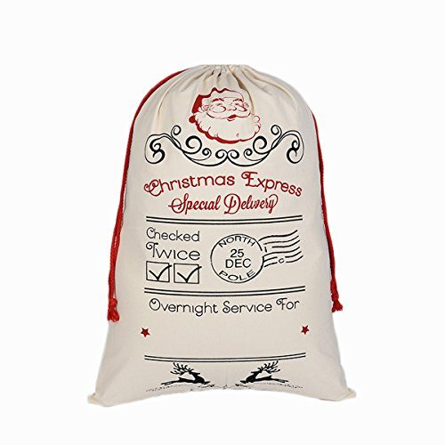 "Hanta Janss Christmas Bag Sika Deer Pattern Design Santa Sack 27""X19"" Beige- SantaClaus"