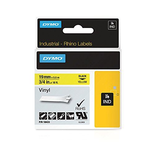 """DYMO Industrial Labels for DYMO Industrial RhinoPro Label Makers, Black on Yellow, 3/4"""", 1 Roll 18433"""