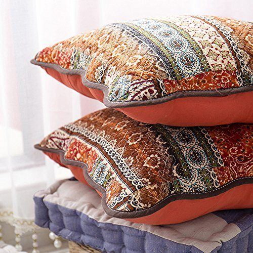 """mixinni Bohemian Style Jacquard Style Cotton Linen Red Throw Pillow Cover 2 Pieces 18""""x18"""" - Uses for Sofa/Chair/Bed"""