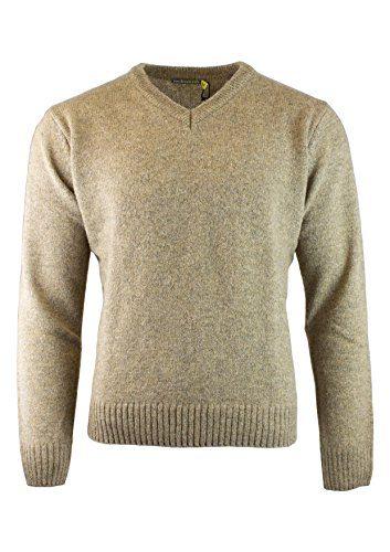 JackSmith Men's Shetland Wool V-Neck Cardigan Sweater Ragg Knitted Jumper Pullover