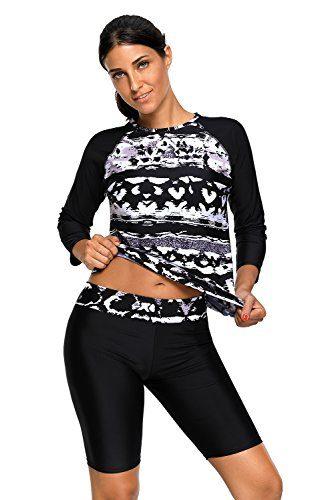 Grace's Secret Women's Printed Long Sleeve Rash Guard Top and Capri Pants Two Piece Swimsuit Set
