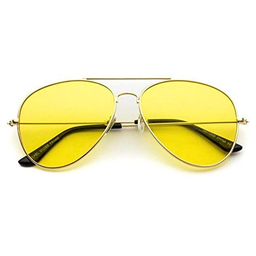 Classic Aviator Style Metal Frame Sunglasses Colored Lens Gold Frame / Yellow Tint, 59