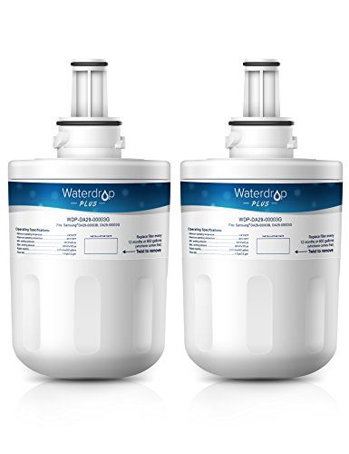 Waterdrop Plus DA29-00003G Double Lifetime Refrigerator Water Filter Replacement for Samsung DA29-00003G, Aqua-Pure Plus DA29-00003B, HAFCU1, DA29-00003A 2 Pack