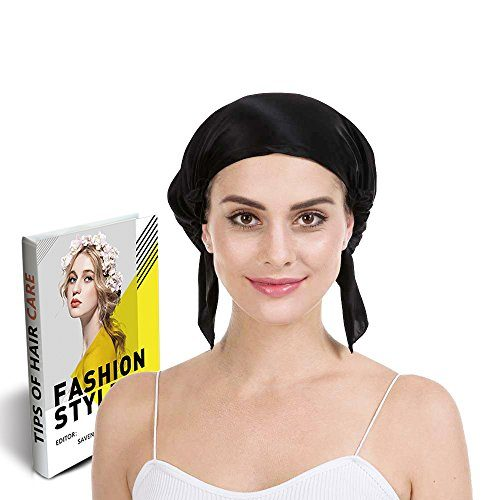 Savena 100% Mulberry Silk Night Sleeping Cap X-Large Size for Thick and Long Hair Bonnet Hat Warm Soft Many Colors, Hair Care Ebook Included Black
