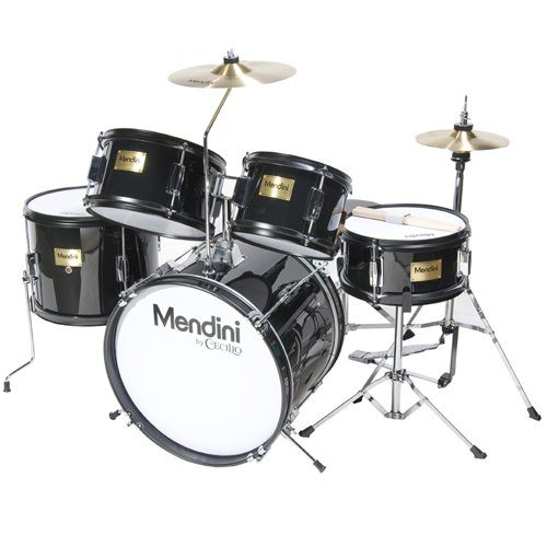 Mendini 5 Drum Set, Black, inch MJDS-5-BK