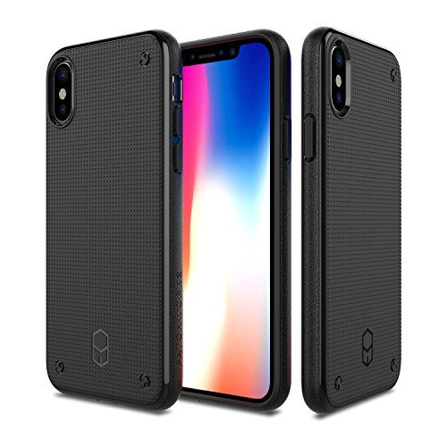 PATCHWORKS iPhone X Case, Flexguard Soft Slim Thin Fit Flexible TPU Anti-Slip Side Grip with Added Corner Impact Protection Cushion Cover Case for iPhone X / 10 2017 - Matte Black