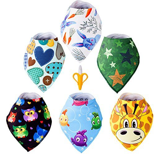 Super Soft, Ultra Absorbent - Machine Washable, Color won't Fade - Baby Bandana Drool Bibs - Unisex Pattern - For Baby Boys & Girls 0-36 Months Old - BPA Free Banana Teether Toothbrush Set