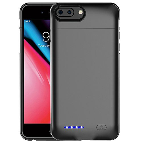 iPhone 8 Plus/7 Plus/6S Plus Battery Case 4200mAh High Capacity Ultra Slim External Charger Case for iPhone 8 Plus/7 Plus/6 Plus/6S Plus with Extra 120% Battery Life Black-5.5""