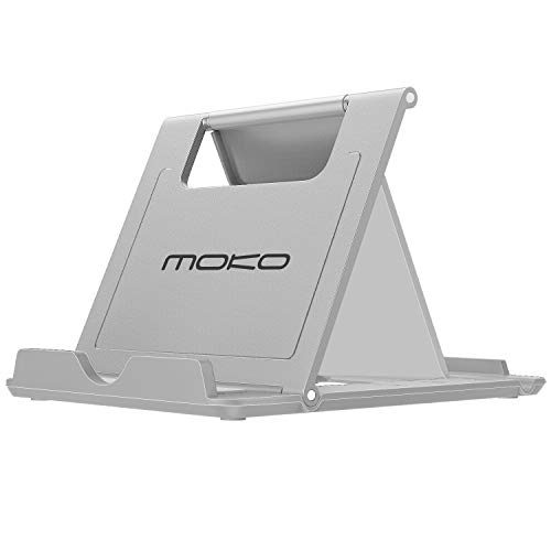 "MoKo Phone/Tablet Stand, Foldable Desktop Holder for Devices6-11"" Fit iPhone Xs/XS Max/XR/X Galaxy S10 New iPad Air 3rd Gen, iPad Mini 5th Gen iPad Pro 11 2018 Nintendo Switch, GraySmall Size"