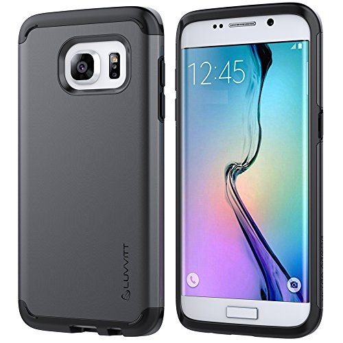 Galaxy S7 Edge Case, LUVVITT Ultra Armor Shock Absorbing Case Best Heavy Duty Dual Layer Tough Cover for Samsung Galaxy S7 Edge - Gunmetal/Black
