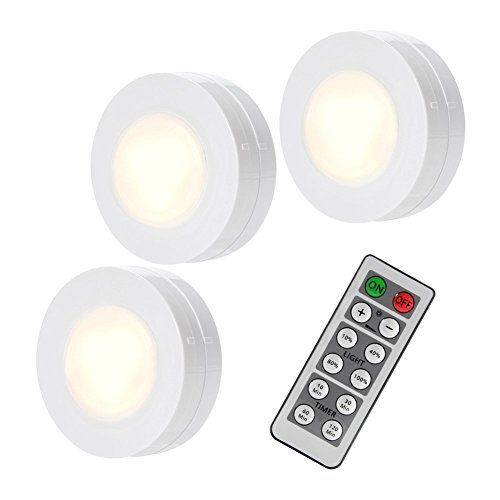 SOLLED Wireless LED Puck Lights, Kitchen Under Cabinet Lighting with Remote Control, Battery Powered Dimmable Closet Lights, 4000K Natural Light-3 Pack