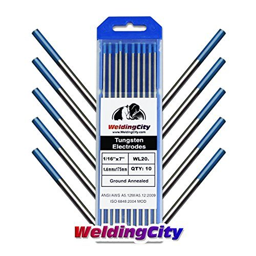 "WeldingCity 10-pk Premium TIG Welding Tungsten Electrode Rod 2.0% Lanthanated Blue, EWLa20 1/16"" x 7"" | 10-pcs"