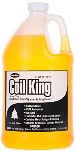 ComStar 90-100 Coil King Professional Grade Concentrated Alkaline External Condenser Coil Cleaner, 1 gal Container, Yellow