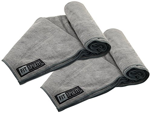 Gray Towels - Fit Spirit Set of 2 Super Absorbent Microfiber Non Slip Skidless Sport Towels 15x24