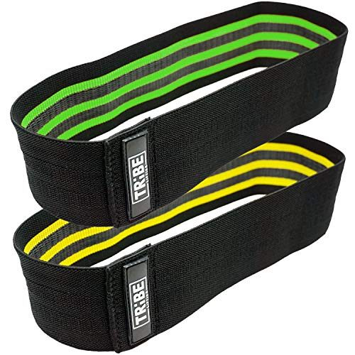 Tribe Lifting Resistance Hip Bands | WOD Leg Band for Hip Work Out or Physical Therapy | Resistance Loops, Stretchable Fabric, Non-Slip Elastic Grippy Inner Layer | Men and Women | Black