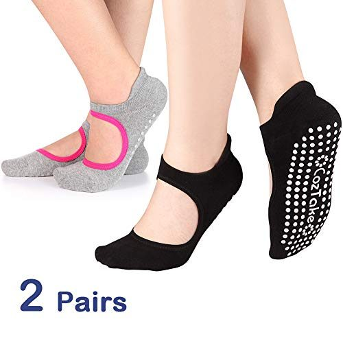 Non Slip Socks Cotton Yoga Socks Pilates Ballet Socks Dance for Women Men 2 PackBlack & Grey