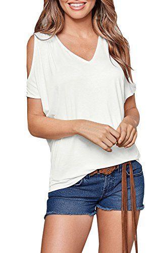Huiyuzhi Womens Cold Shoulder Off Shirt Short Sleeve Tunic Top