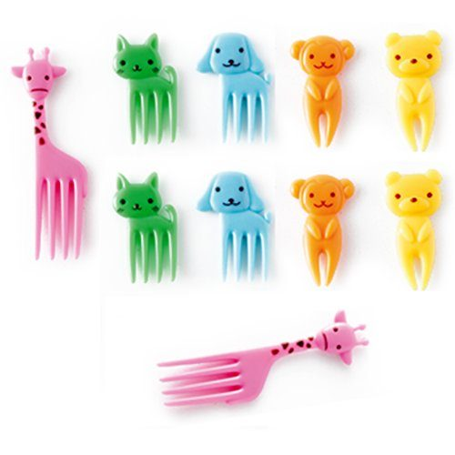 CuteZCute Bento Food Pick Fork, 10-Piece, Giraffe, Dog, Cat, Bear, Monkey Color may vary
