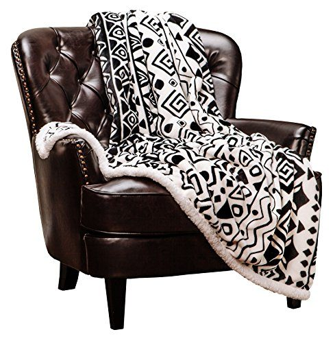 "White and Black - Super Soft Snuggly Cozy Fluffy Microfiber Luxurious Plush for Sofa Couch Bed 50"" x 65"" - Chanasya Modern Cave Art Ethnic Tribal Print Fleece Sherpa Throw Blanket"
