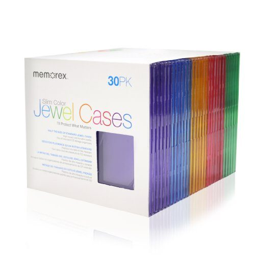 Memorex 30-Pack Slim CD Jewel Case 5mm- Assorted Colors