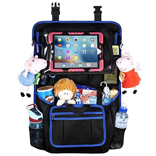 "Car Back Seat Organizer Protector -Travel Accessories Large Size Toy Storage Bag with 12.9"" Tablet Holder for Kids, Backseat Cover, Kick Mats by WEIKER BLACK - 1 PACK"