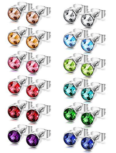 FUNRUN 12 Pairs Stainless Steel Stud Earrings for Women Men Piercing Earrings CZ Studs 6mm