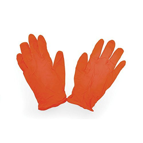 Camco Durable All Purpose RV and Camper Disposable Sanitation Gloves - 30 Pack 40286 - Will Grip in Wet or Dry Conditions | Latex and Powder Free |Orange  Nitrile Gloves