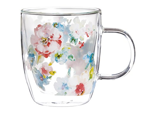"4.75""W x 4""D x 4.5""H - Cypress Home Summer Bloom 12 oz Artisan Double-Wall Glass Coffee or Tea Café Cup in Coordinating Gift Box"