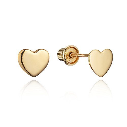 14k Yellow Gold and White Gold Heart Children Screwback Baby Girls Stud Earrings