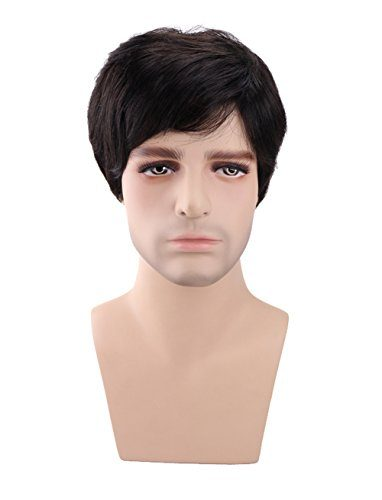 Kalyss Men's Short Black Brown Synthetic Hair Wig