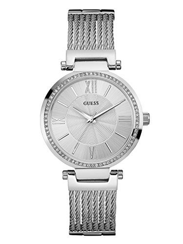 GUESS Silver-Tone Modern Woven Watch