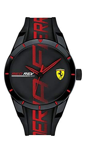 Ferrari Men's RedRev Quartz Plastic and Silicone Strap Casual Watch, Color: Black Model: 830614