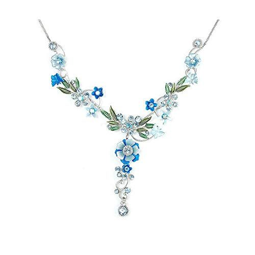 Glamorousky Blue Flower and Tiny Butterfly Necklace with Blue Austrian Element Crystals 975