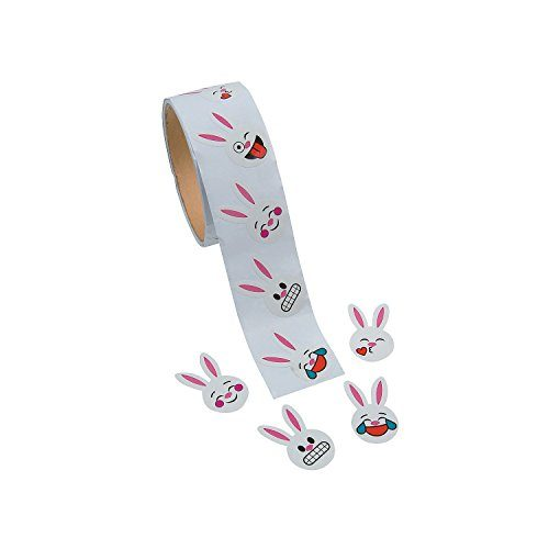 Fun Express - 100 Pieces - Roll - Stickers - Easter - Stationery - Emoji Face Bunny Stickers for Easter - Stickers