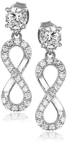 925 Sterling Silver AAA Cubic Zirconia Infinity Drop Earrings 0.82 cttw