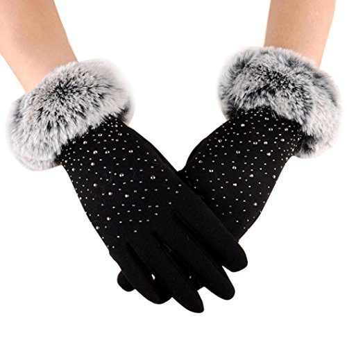 Hot Sale !!! Women's Winter Gloves ,Jushye Womens Fashion Winter Outdoor Sport Warm Gloves Riding Gloves Ideal for Dress, Driving, Cycling, Motorcycle, Camping etc Black
