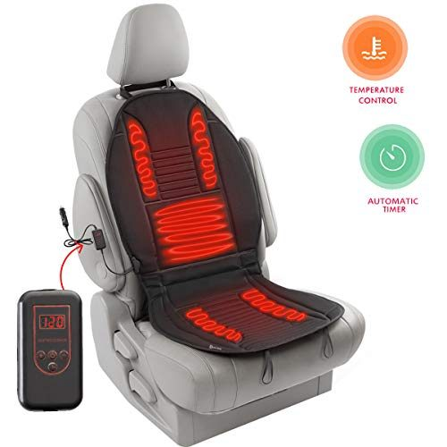 Zento Deals 12V Heated Car Seat Cushion - Quality Comfortable Heating Warmer Pad with Secured Straps for Cold Weather Winter Driving- New Upgraded Version for 2019, Safer Nonflammable UL Wiring