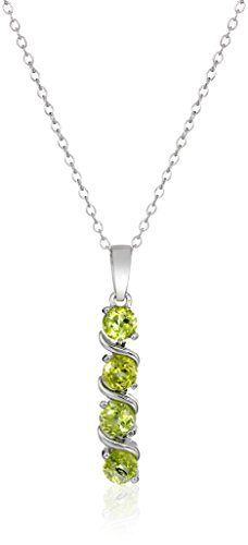 Sterling Silver Genuine Peridot Pendant Necklace, 18""