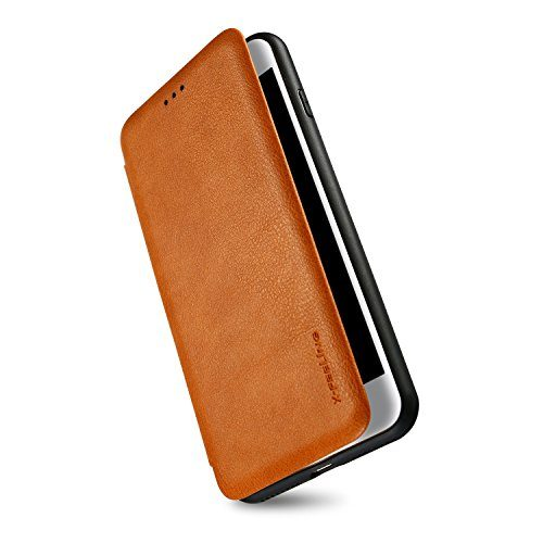 iPhone 7 Flip Case,ALYEE Flexible PU Leather + Soft TPU Wallet Phone Cases for iPhone 8 with Card Holder Anti-ScratchAnti-Slip Protective Phone Case Cover for iPhone7 4.7 inch, Brown