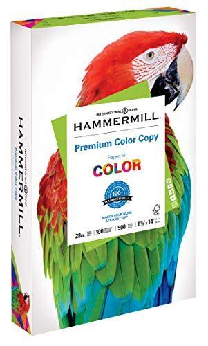 Hammermill Paper, Premium Color Copy Paper 8.5 x 14 Paper, Legal Size, 28lb Paper, 100 Bright, 1 Ream / 500 Sheets 102475R Acid Free Paper