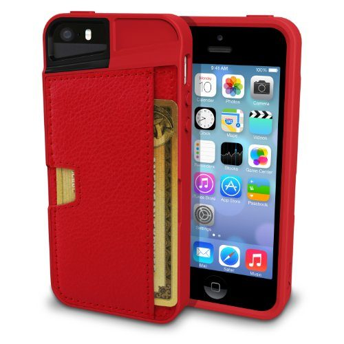 Q Card Case Slim + Protective Credit Card Holder for Apple iPhone SE/5/5s by CM4 - Red Fabric - iPhone SE Wallet Case