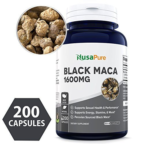 Support Reproductive Health - Best Black Maca Root 1600mg 200 Capsules Non-GMO & Gluten Free Max Strength - Maca Root Extract Supplement from Peru - 100% Money Back Guarantee - Order Risk Free!