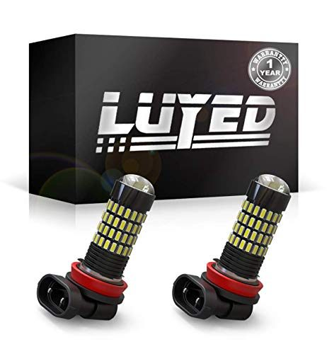 LUYED 2 X 1700 Lumens Extremely Bright 4014 102-EX Chipsets H11 H8 LED Bulbs Used For DRL or Fog Lights,Xenon WhiteBrightest LED in market