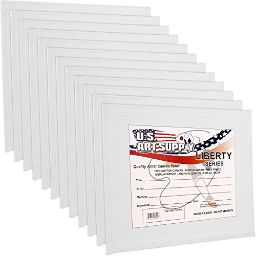 US Art Supply 8 X 10 inch Professional Artist Quality Acid Free Canvas Panel Boards for Painting 12-Pack 1 Full Case of 12 Single Canvas Board Panels