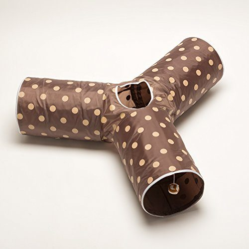 Polka Dot Brown - Prosper Pet Cat Tunnel - Tube Fun for Rabbits, Kittens, and Dogs - Collapsible 3 Way Polka Dot Play Toy